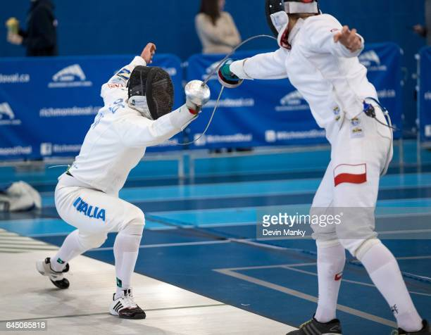 Paolo Pizzo of Italy attacks Jan Wenglarczyk of Poland during action at the Peter Bakonyi Senior Men's Epee World Cup on February 18th 2017 at the...