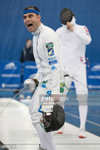 Paolo Pizzo of Italy celebrates a victory at the Peter Bakonyi Senior Men's Epee World Cup on February 18th 2017 at the Richmond Olympic Oval in...