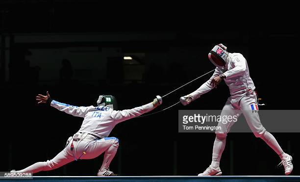 Paolo Pizzo of Italy competes against Yannick Borel of France during the Men's Epee Team Gold Medal Match on Day 9 of the Rio 2016 Olympic Games at...