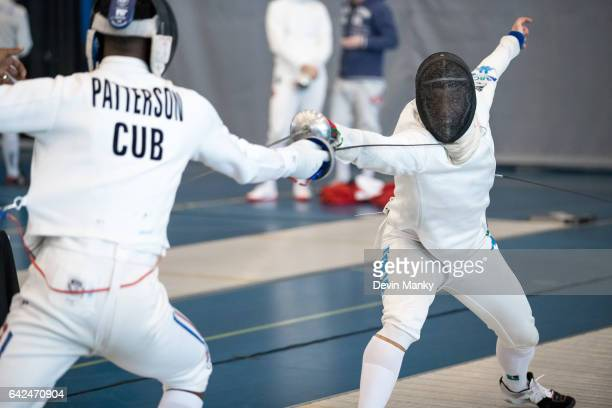 Paolo Pizzo of Italy fences against Luis Enrique Patterson of Cuba during the preliminary rounds of the Peter Bakonyi Senior Men's Epee World Cup on...