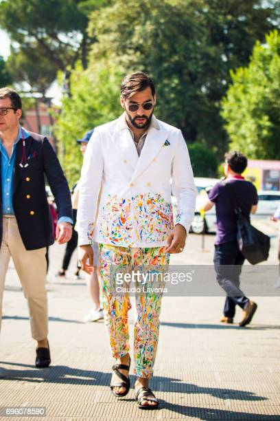 Paolo Roda wears a white Doublebreasted jacket during Pitti Immagine Uomo 92 at Fortezza Da Basso on June 14 2017 in Florence Italy