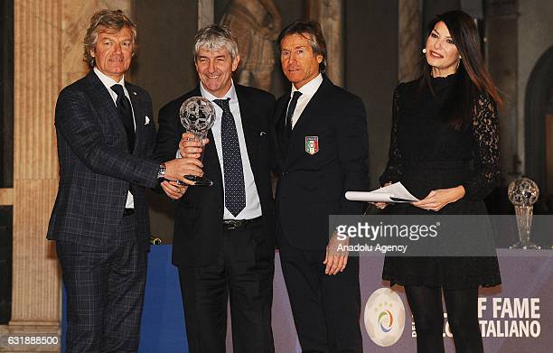 Paolo Rossi Giancarlo Antognoni and Gariele Oriali are seen during the Italian Football Federation Hall of Fame ceremony at Palazzo Vecchio on...