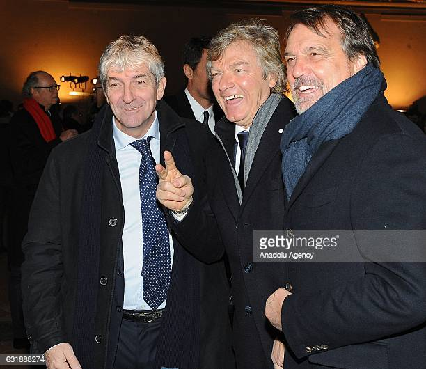 Paolo Rossi Giancarlo Antognoni and Marco Tardelli are seen during the Italian Football Federation Hall of Fame ceremony at Palazzo Vecchio on...