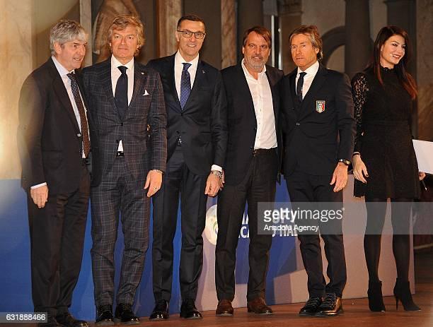 Paolo Rossi Giancarlo Antognoni Giuseppe Bergomi Marco Tardelli and Gabriele Oriali attend the Italian Football Federation Hall of Fame ceremony at...