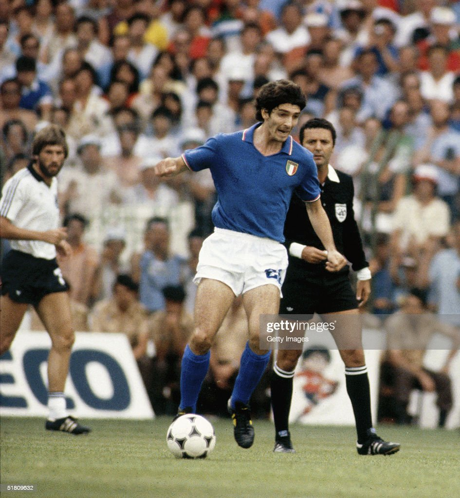 Paolo Rossi of Italy in action during the World Cup Final match between West Germany and Italy held at the Bernabeu Stadium, Madrid, Spain on July 11, 1982. Italy won the match 3-1.