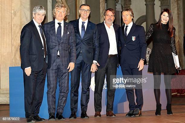 Paolo RossiGiancarlo Antognoni Giuseppe Bergomi Marco Tardelli and Gabriele Oriali during the Italian Football Federation Hall of Fame ceremony at...