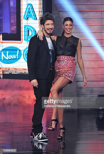 Paolo Ruffini and Belen Rodriguez attend 'Colorado' Italian TV Show on October 10 2012 in Milan Italy