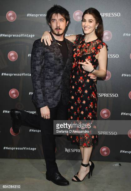 Paolo Ruffini and Diana Del Bufalo attend a photocall for Nespresso on February 8 2017 in Milan Italy