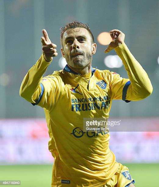 Paolo Sammarco of Frosinone celebrates after scoring the goal to make it 21 during the Serie A match between Frosinone Calcio and Carpi FC at Stadio...