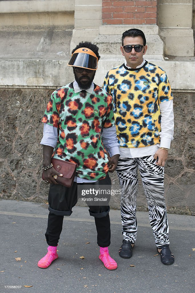 Paolo Sfarra and Cyprew Richard on day 5 of Paris Collections: Men on June 30, 2013 in Paris, France.