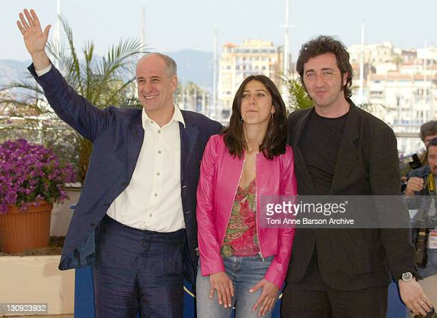 Paolo Sorrentino Olivia Magnani Tony Servillo during 2004 Cannes Film Festival 'The Consequences Of Love' Photocall at Palais Du Festival in Cannes...