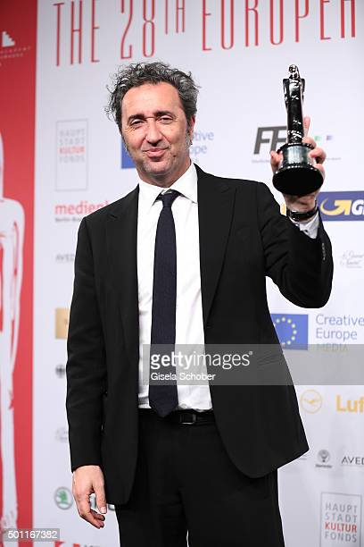 Paolo Sorrentino with award during the European Film Awards 2015 at Haus Der Berliner Festspiele on December 12 2015 in Berlin Germany