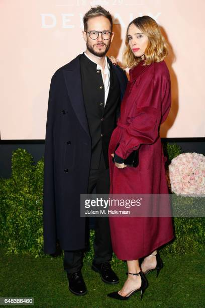 Paolo Stella and Candela Novembre attend the Delvaux Cocktail Paris Fashion Week Womenswear Fall/Winter 2017/2018 at Jardin du Palais Royal on March...