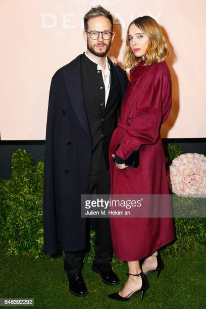 Paolo Stella and Candela Novembre attend the Delvaux cocktail party during Paris Fashion Week Womenswear Fall/Winter 2017/2018 at Jardin du Palais...