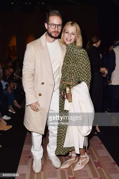 Paolo Stella and Roberta Ruiu attend the Trussardi show during Milan Fashion Week Fall/Winter 2017/18 on February 26 2017 in Milan Italy