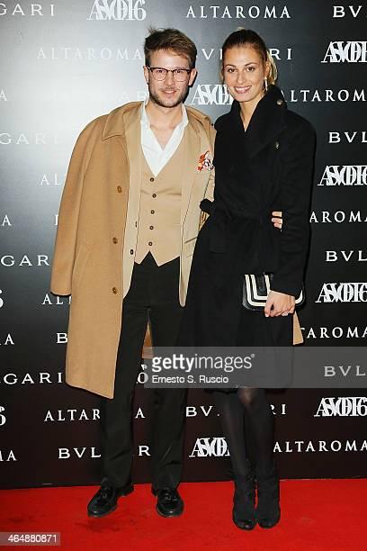 Paolo Stella and Sveva Alviti attend the 'ASVOFF 6' at Tempio di Adriano on January 24 2014 in Rome Italy