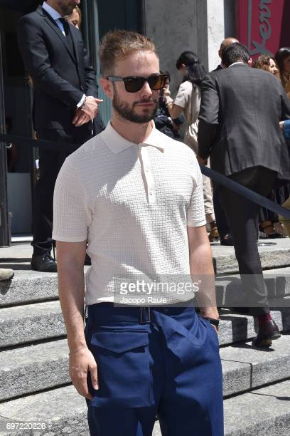 Paolo Stella arrives at the Salvatore Ferragamo show during Milan Men's Fashion Week Spring/Summer 2018 on June 18 2017 in Milan Italy
