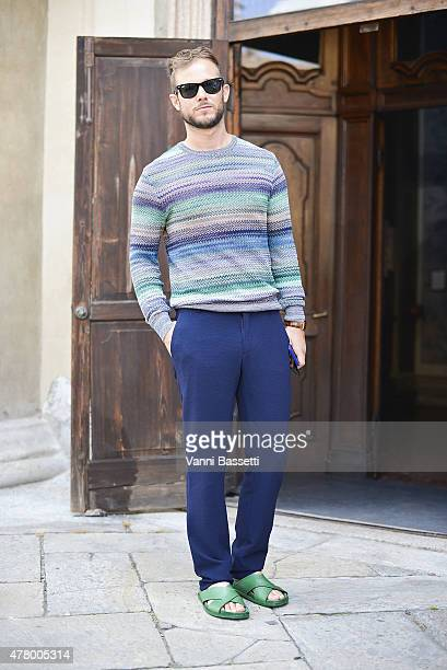 Paolo Stella poses wearing a Missoni jumper on June 21 2015 in Milan Italy