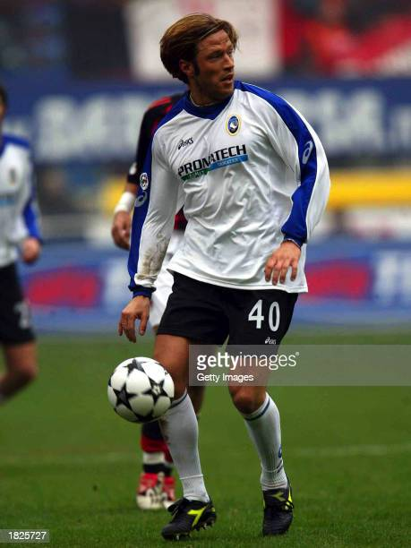 Paolo Tramezzani of Atalanta in action during the Serie A match between AC Milan and Atalanta at the Giuseppe Meazza San Siro Stadium on March 2 2003