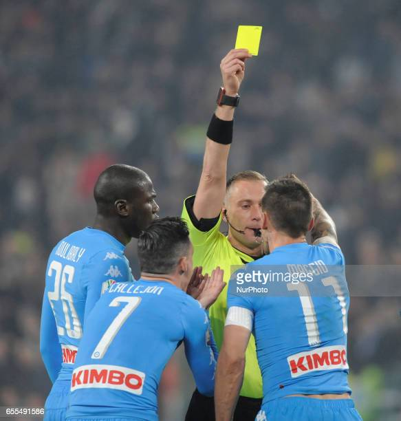 Paolo Valeri the referee and Josè Callejon Christian Maggio Lorenzo Insigne of Napoli during the Italian Football Cup Tim Cup 20162017 match between...