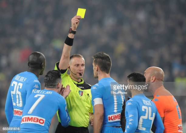 Paolo Valeri the referee and Kalidou Koulibaly Josè Callejon Christian Maggio Lorenzo Insigne of Napoli during the Italian Football Cup Tim Cup...