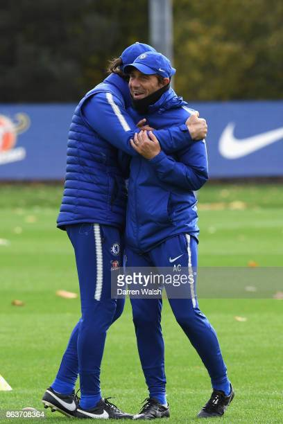 Paolo Vanoli and Antonio Conte of Chelsea during a training session at Chelsea Training Ground on October 20 2017 in Cobham United Kingdom