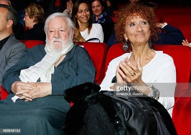 Paolo Vilaggio and Anna Mazzamauro attend the 'Tribute To Paolo Villaggio' during the 10th Rome Film Fest on October 23 2015 in Rome Italy