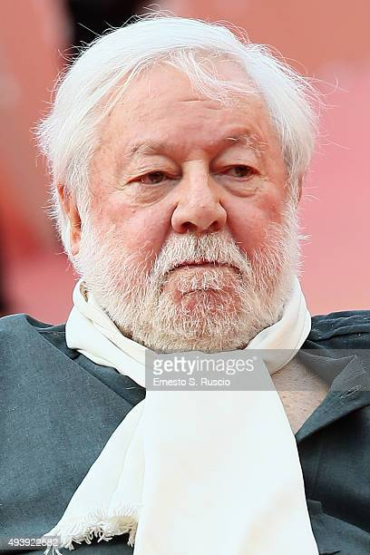 Paolo Villaggio attends a red carpet for 'Fantozzi' during the 10th Rome Film Fest on October 23 2015 in Rome Italy