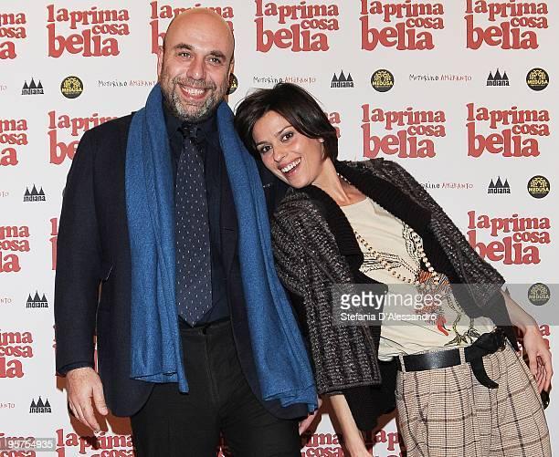 Paolo Virz and Claudia Pandolfi attend 'La Prima Cosa Bella' Premiere on January 13 2010 in Milan Italy