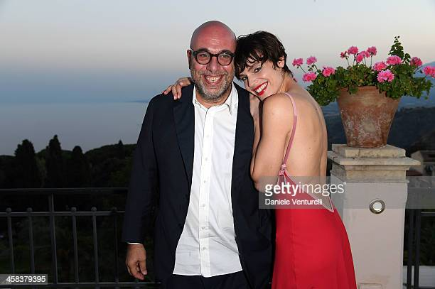 Paolo Virzi and Micaela Ramazzotti attends a cocktail party ahead of Nastri D'Argento on July 2 2016 in Taormina Italy