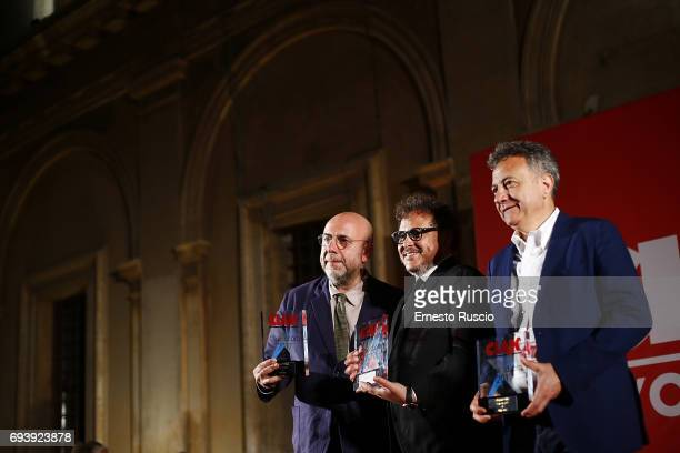 Paolo Virzi Marco Belardi and Paolo Del Brocco receive the Ciak D'Oro 2017 award at Link Campus University on June 8 2017 in Rome Italy