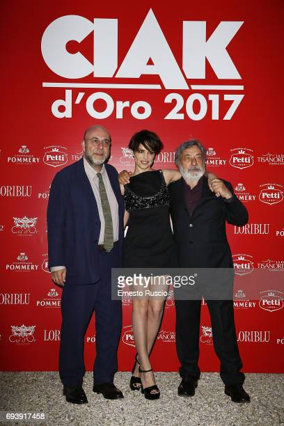 Paolo Virzi Micaela Ramazzotti and Gianni Amelio attend Ciak D'Oro 2017 at Link Campus University on June 8 2017 in Rome Italy