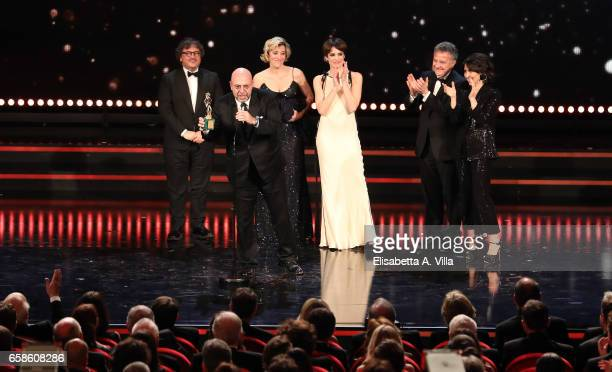 Paolo Virzi receives the Best Movie Award for 'La Pazza Gioia' during the 61 David Di Donatello ceremony on March 27 2017 in Rome Italy