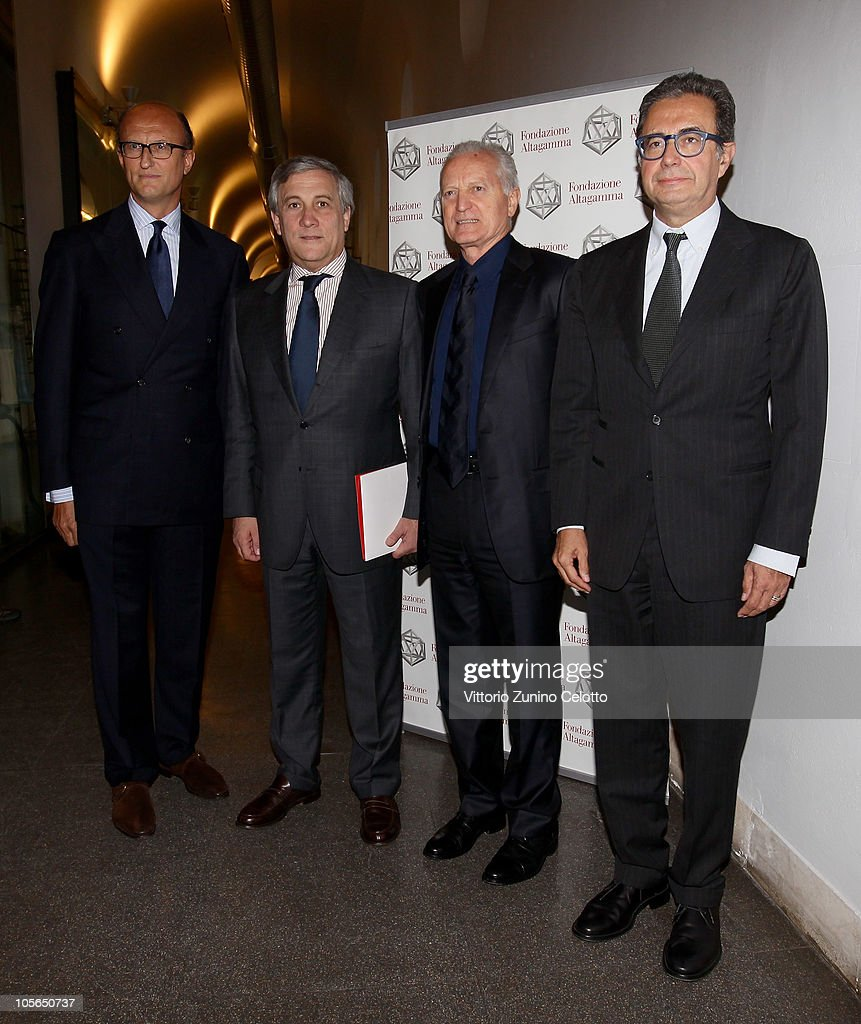 Paolo Zegna, <a gi-track='captionPersonalityLinkClicked' href=/galleries/search?phrase=Antonio+Tajani&family=editorial&specificpeople=5429212 ng-click='$event.stopPropagation()'>Antonio Tajani</a>, <a gi-track='captionPersonalityLinkClicked' href=/galleries/search?phrase=Santo+Versace&family=editorial&specificpeople=2734979 ng-click='$event.stopPropagation()'>Santo Versace</a>, Armando Branchini attend the 'Osservatorio Altagamma 2010' meeting held at Museo della Scienza e della Tecnica on October 18, 2010 in Milan, Italy.