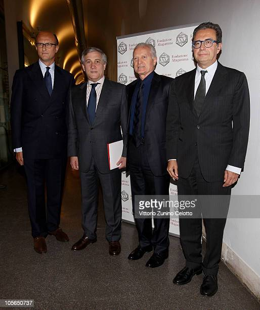 Paolo Zegna Antonio Tajani Santo Versace Armando Branchini attend the 'Osservatorio Altagamma 2010' meeting held at Museo della Scienza e della...