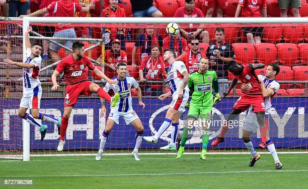 Papa Babacar Diawara heads towards goal during the round six ALeague match between Adelaide United and the Newcastle Jets at Coopers Stadium on...