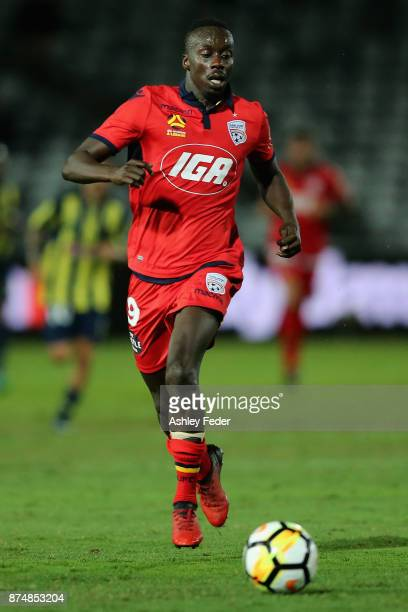 Papa Babacar Diawara of Adelaide controls the ball during the round seven ALeague match between the Central Coast Mariners and Adelaide United at...