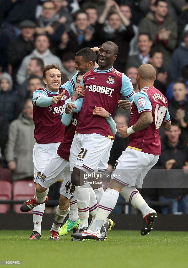 Papa Bouba Diop of West Ham United celebrates his goal during the npower Championship match between West Ham United and Barnsley at the Boleyn Ground on December 17, 2011 in London, England.