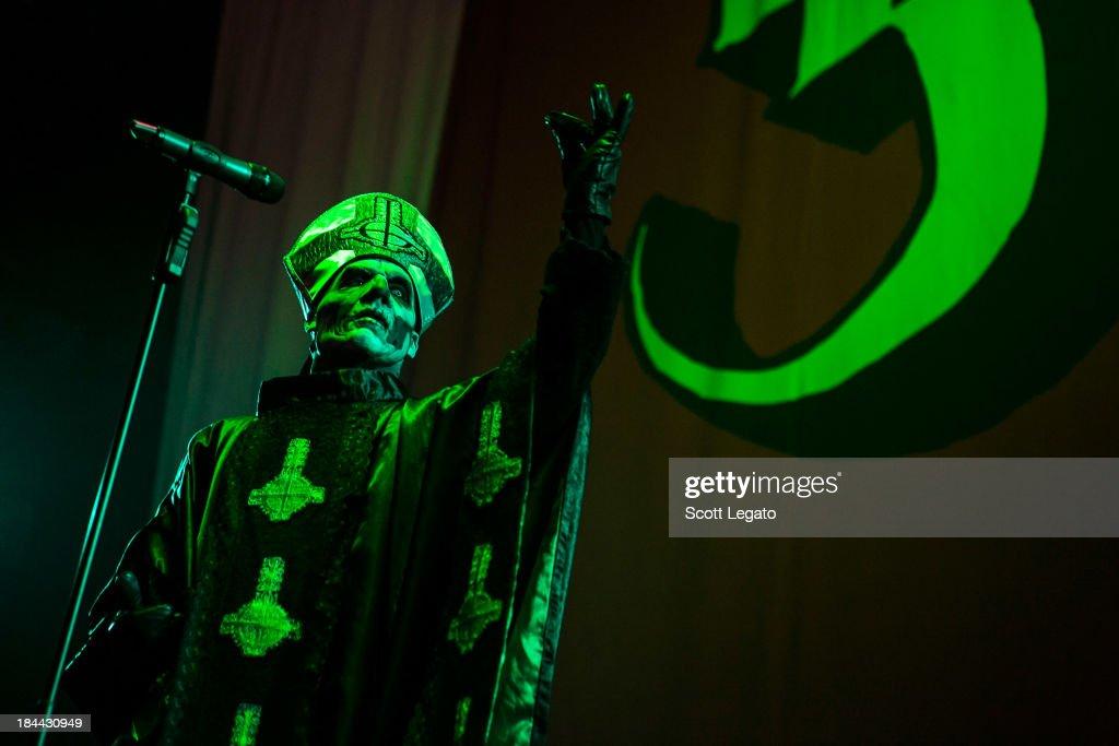 Papa Emeritus II of Ghost BC performs at Joe Louis Arena on October 13, 2013 in Detroit, Michigan.
