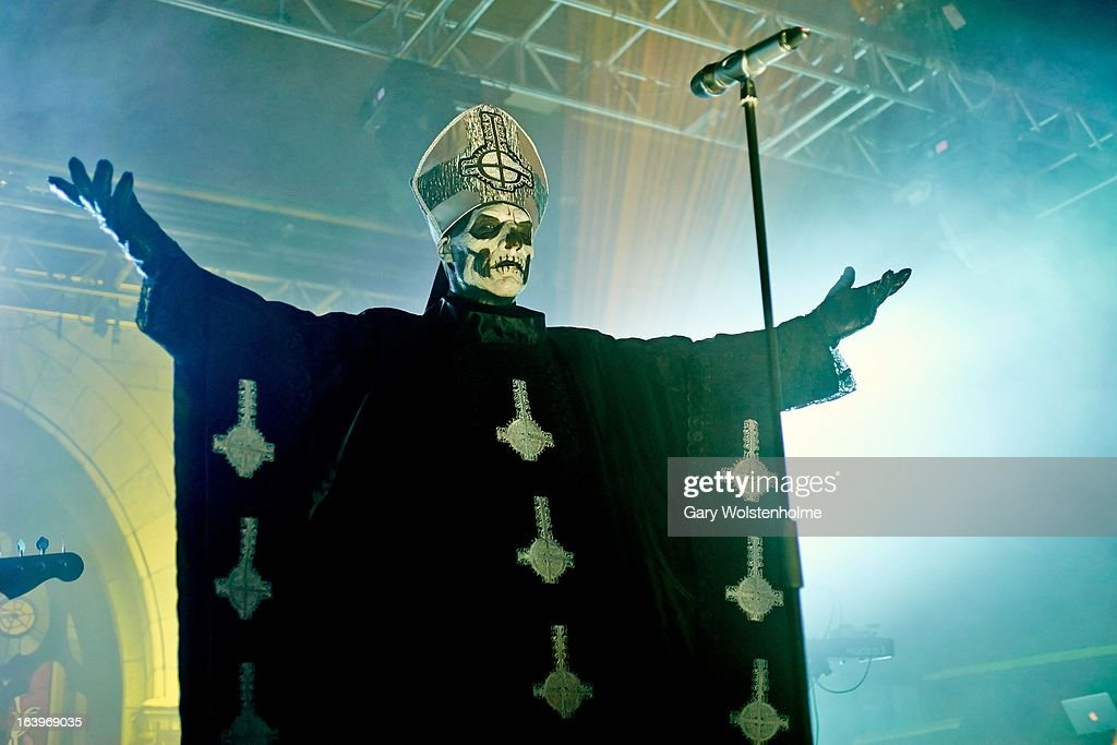 Papa Emeritus II of Ghost BC performs on stage at Jagermeister Music Tour 2013 at the Academy on March 18 2013 in Sheffield England