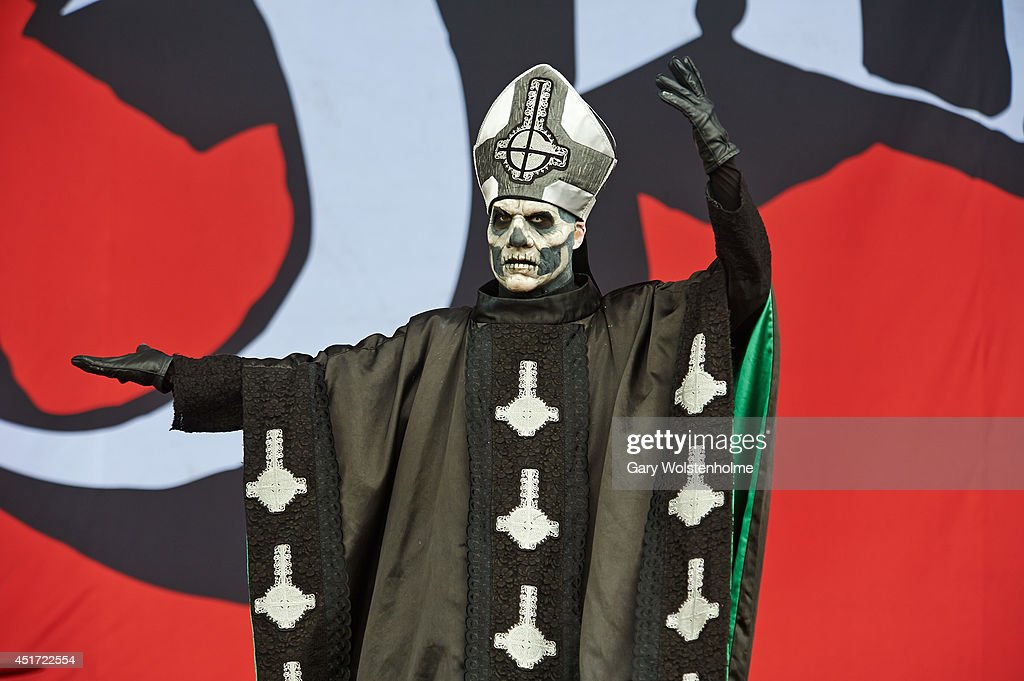 Papa Emeritus II of Ghost BC performs on stage at Sonisphere at Knebworth Park on July 5 2014 in Knebworth United Kingdom
