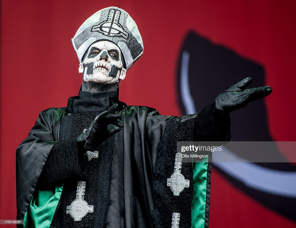 Papa Emeritus II (formerly known as Papa Emeritus) of Ghost performs onstage on Day 3 of The Download Festival at Donnington Park on June 16, 2013 in Donnington, England.