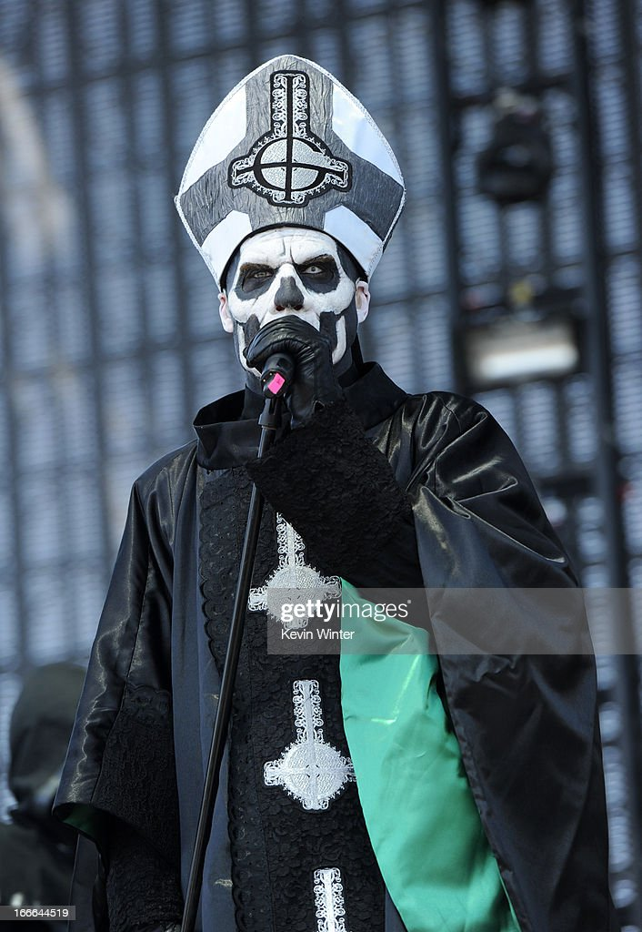 Papa Emeritus II of the band Ghost BC performs onstage during day 3 of the 2013 Coachella Valley Music Arts Festival at the Empire Polo Club on April...