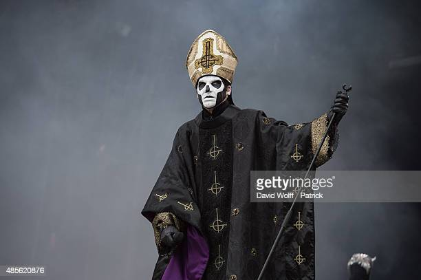 Papa Emeritus III from Ghost performs during day 1 of Rock En Seine Festival at Domaine National de SaintCloud on August 28 2015 in Paris France