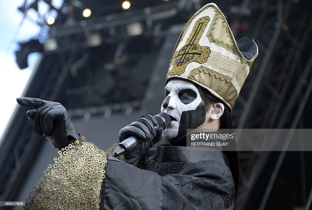 Papa Emeritus III of Swedish band Ghost BC performs during the RockenSeine music festival in SaintCloud near Paris on August 28 2015 AFP PHOTO /...