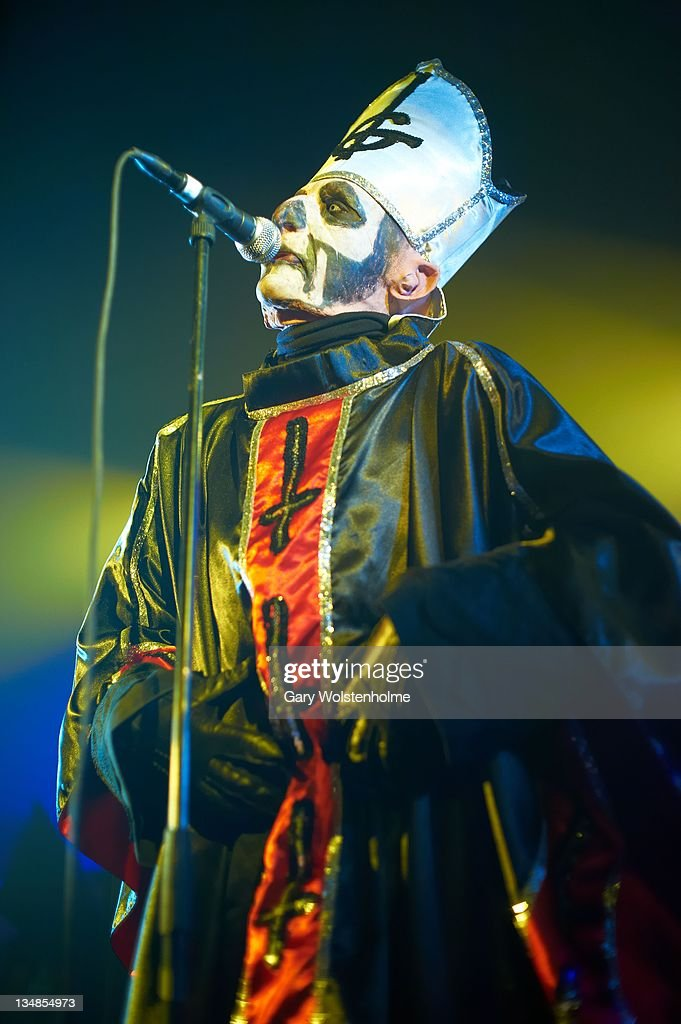 Papa Emeritus of Ghost performs on stage at Manchester Academy on December 3 2011 in Manchester United Kingdom
