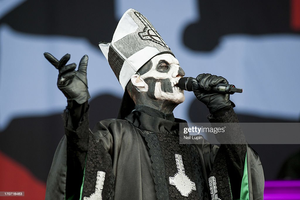 Papa Emeritus of Ghost performs on stage on Day 3 of Download Festival 2013 at Donnington Park on June 16 2013 in Donnington England