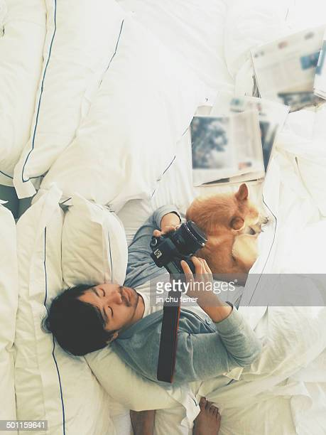 Papa + Fur Son cuddles