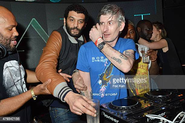 Papa Lu Ramzy Bedia and Kavinsky attend the Kavinsky Olympia Concert After DJ Set Party at the VIP Room Theater on March 17 2014 in Paris France