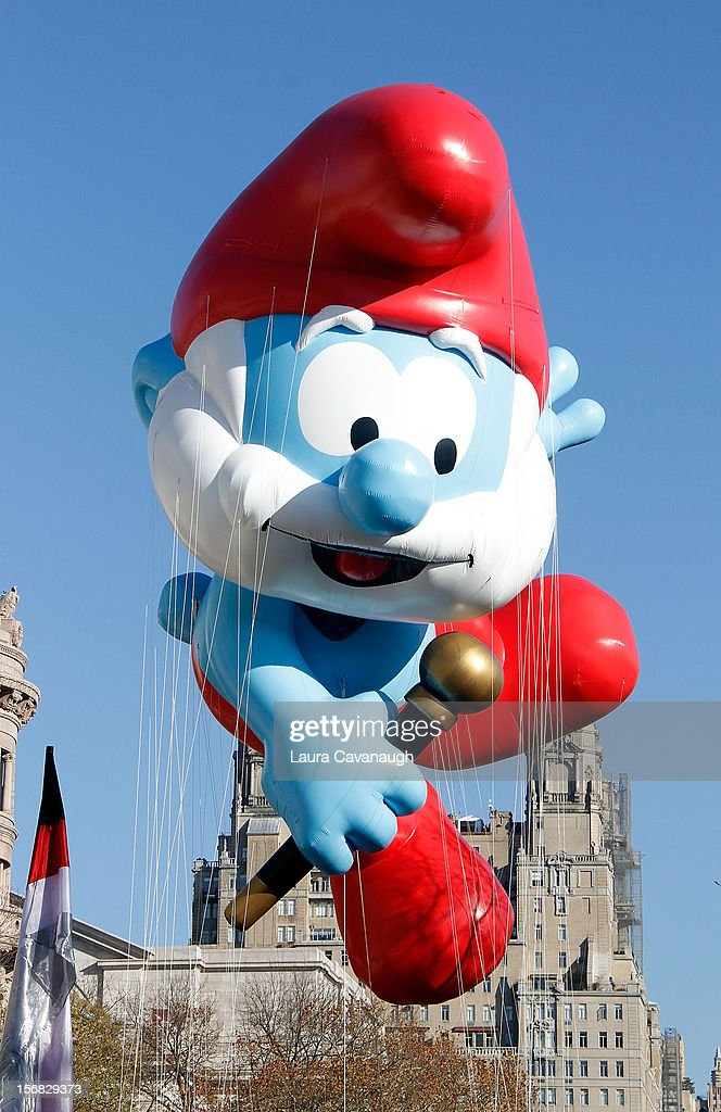 Papa Smurf balloon floats at the 86th Annual Macy's Thanksgiving Day Parade on November 22, 2012 in New York City.